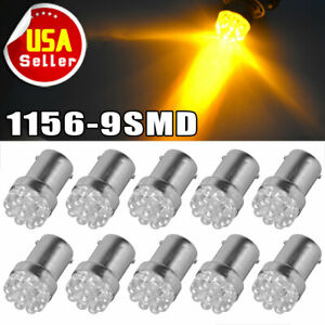 10x 1156 1142 Led Turn Signal Backup Reverse High Power 3000k Amber Yellow Bulb
