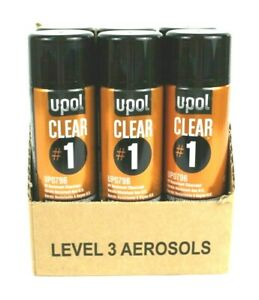 U pol Up0796 6 Cans Clear 1 High Gloss Clearcoat Aerosol Spray Can 450ml Upol