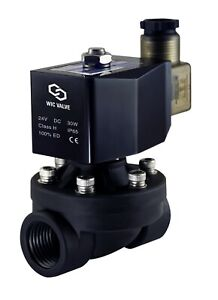 Plastic Zero Differential Electric Air Water Solenoid Valve Nc 3 4 Inch 24v Dc