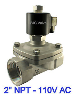 2 Inch Normally Open Stainless Air Gas Water Solenoid Valve 110v Ac Viton Seal