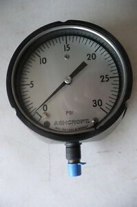 New Ashcroft 4 5 Pressure Gauge Model 451220s 02l 0 To 30 Psi 1 4 npt