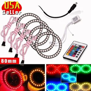 4 X Rgb 80mm Multi Color Led Angel Eye Halo Rings For Bmw E46 E39 New 5050
