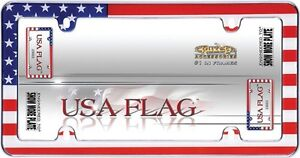 Usa American Flag Chrome License Plate Frame Car Auto Truck Tag Cover Holder
