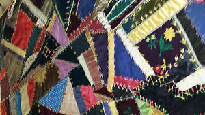 Fabulous Antique Hand Stitched Crazy Quilt Embroidery 77 X76
