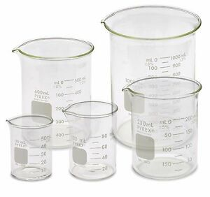 Corning Pyrex 1000 pack Low Form Beaker Set 5 Sizes 50 100 250 600 1000ml
