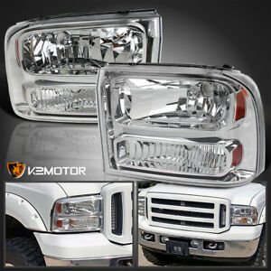 1999 2004 Ford F250 F350 Superduty 1pc Style Chrome Headlight Bumper Lamps Pair