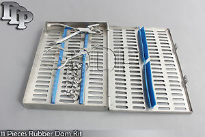 Rubber Dam 11 Piece Set Up clamps punch forceps frame case Dn 539