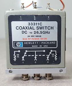 Hp Coaxial Switch 33311c Dc To 26 5ghz 24vdc Drive Max Rf Power 1w Cw