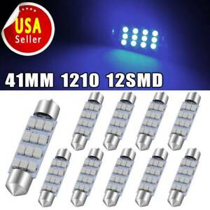 10x Ultra Blue 12smd Festoon 41mm 42mm Led Car Interior Map Dome Door Light Bulb