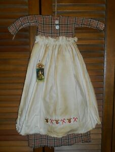 Primitive Red Blue Plaid Dress Wapron Reindeer Canes Grungy Christmas Cupboard