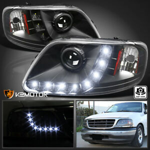 1997 2003 Ford F150 Expedition Black Led Strip Projector Headlights Left right