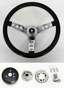 New 1965 1969 Mustang Black Steering Wheel Grant 13 1 2 With Chrome Spokes