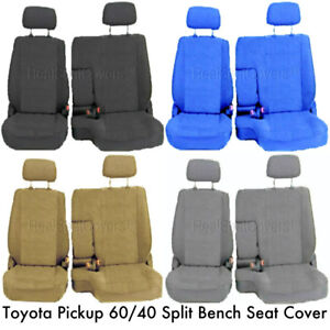 60 40 Split Bench Seat Cover Detachable Headrest Custom Exact Fit For Pickup