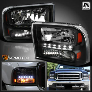 1999 2004 Ford F250 F350 Superduty Excursion 1pc Black Led Headlights