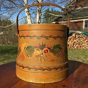 Antique Shaker Style Finger Banded Folk Art Painted Firkin Pantry Bucket Signed
