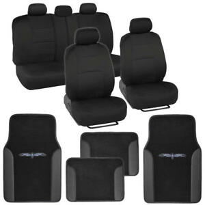 Black Car Seat Covers Complete Interior Set W Tribal Pattern Carpet Floor Mats