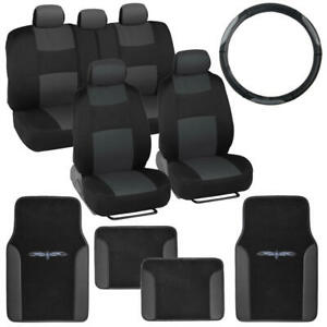 14 Pc Car Seat Covers Set Black Charcoal W Pu Leather Trim Carpet Floor Mats