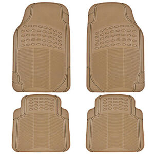 4pc Rubber Liner For Toyota Camry Floor Mats Beige All Weather Semi Custom Fit