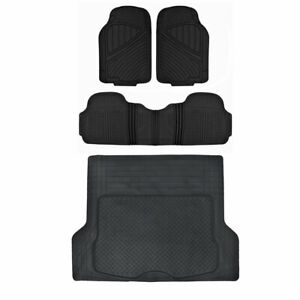 Car Floor Mat Heavy Duty Rubber Trunk Cargo Liner Black Flextough 4 Pc Full Set