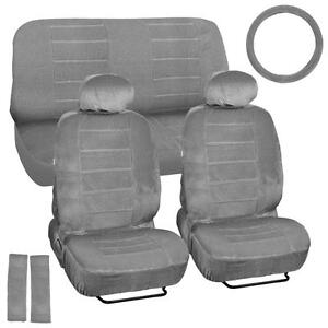 Velour Smooth Car Seat Covers Vintage Classic Look In Gray W Steering Wheel