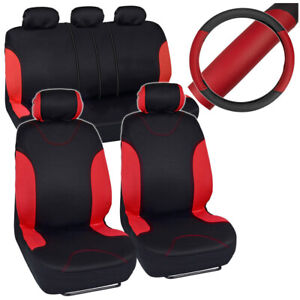 Auto Car Seat Covers Full Set Black Red W Synth Leather Steering Wheel Cover