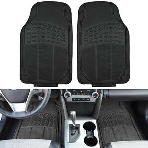 Rubber Floor Mats For Car Heavy Duty 2pc Set All Weather Safeguard Black