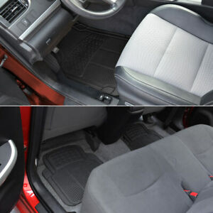 Car Rubber Floor Mats For All Weather Heavy Duty Tech 4 Pcs Trimmable Black