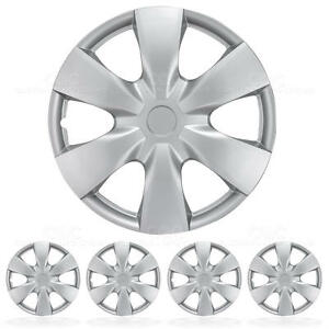 4 Pc Set 15 Inch Silver Hubcaps Wheel Cover Oem Rim Covers Replacement Hub Caps