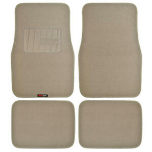Motor Trend Heavy Duty Car Floor Mats Rubber Backing 4pc Beige Tan
