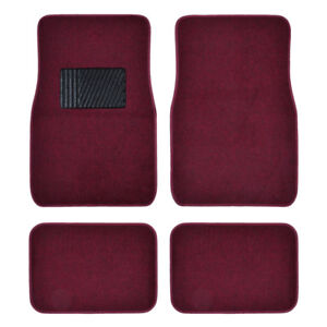 Dark Red Car Floor Mats Liner Pads Utility Mat Standard Fit 4pc Auto Interior