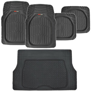 Motortrend Transtech Rubber Car Floor Mats Cargo Set Black Heavy Duty 5pc