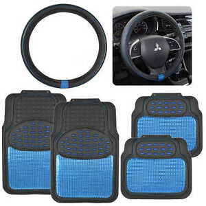 Blue Heavy Duty Metallic Rubber Car Floor Mats Pu Leather Steering Wheel Cover