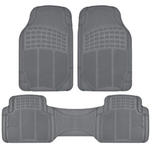Car Rubber Floor Mats For All Weather Heavy Duty Protection Trim To Fit Gray