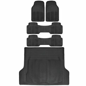 Van Suv Floor Mats All Weather 5 Piece Rubber Mat 3 Row Trunk Mat Black