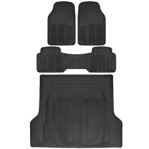 Black Rubber Floor Mats Cargo Liner Set For Car Suv Truck Ridgeline Hd 4pc Set