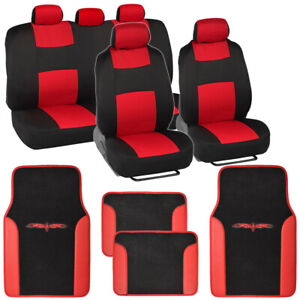 Black Red Seat Covers Set Complete W Two Tone Vinyl Trim Floor Mats