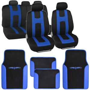 Complete Set Car Seat Covers And 2 Tone Vinyl Mats Black Blue Front And Rear