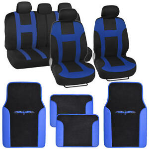 Seat Cover For Car Suv Monaco Racing Style Stripes Blue With Vinyl Mats