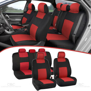 Red Full Set Car Seat Covers Premium Double Stitching W Split Bench