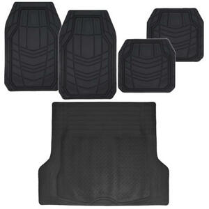 Car Floor Mats For All Weather Rubber 5pc Cargo Trunk Liner Heavy Duty Black