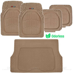 5pc All Weather Floor Mats Cargo Set Beige Tough Rubber Motortrend Deep Dish