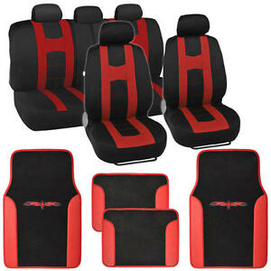 Complete Set Car Seat Covers And 2 Tone Vinyl Mats Black Red Front And Rear