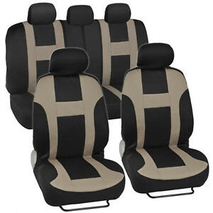 New Bdk Monaco Racing Style Seat Covers Front And Rear Complete Set Tan Beige