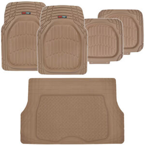 Beige Tan Car Floor Mats For Auto All Weather Heavy Duty Rubber W Cargo Liner