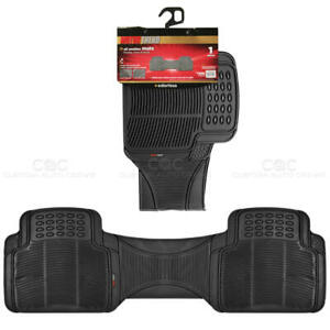 1pc Black Rubber Floor Mat Rear Car Suv Heavy Duty All Weather Liner Bpa Free