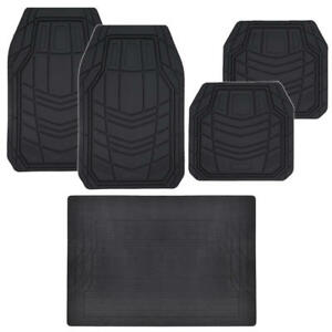 5pc Rubber Car Floor Mats Trunk Liner Solid Black Full Interior Protection