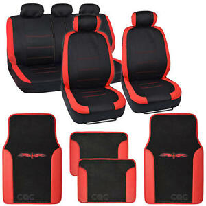 Two Tone Black Red Accent Stripes Car Seat Covers Cute Interior Set 13pcs