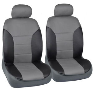 Honda Civic Sedan Coupe Fitted Seat Covers Black Gray 2 Tone Pu Leather