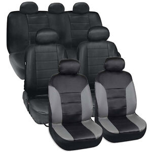 Van Suv Seat Covers 3 Row 2 Tone Color Pu Leather Covers Black Gray Full Set