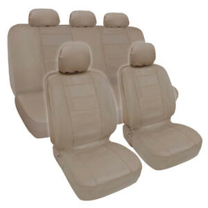 Pu Synthetic Leather Beige Car Seat Cover Genuine Leather Feel Front Rear Set